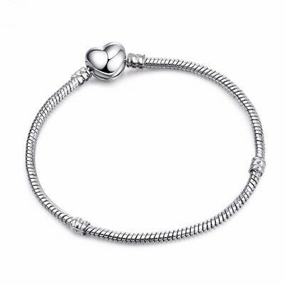 Authentic Pandora Silver Chain Bracelet with HEART CLASP Charm Snake 590719
