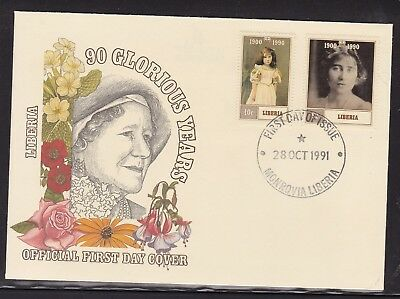 LIBERIA 1990 90th BIRTHDAY QUEEN MOTHER FIRST DAY COVER FDC