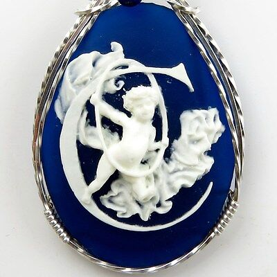 Angel Cameo Pendant .925 Sterling Silver Jewelry Letter C Lapis Blue Resin