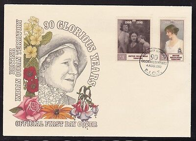 BIOT BRITISH INDIAN OCEAN 1990 90th BIRTHDAY QUEEN MOTHER FIRST DAY COVER FDC