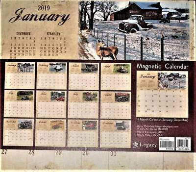 2019 PRIMITIVE COUNTRY TRUCK MAGNETIC CALENDAR PAD by GREG & Co. FOLK ART cl
