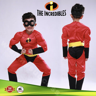Premium Kids Boys Girls The Incredibles mucle Cosplay Costume Dress Outfit &Mask