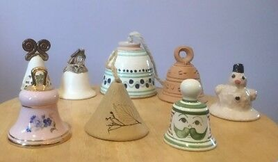 Pottery and porcelain bells, all Czech. Pretty, decorative