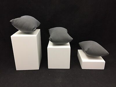 Lot Of 8-Bracelet Or Watch Block Display Sets-White With Jewelry Display Pillows