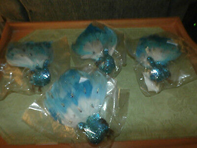 LOT of 4 STUNNING PEACOCK INSPIRED CHRISTMAS ORNAMENTS FLORAL PICK DECORATIONS