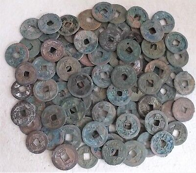 Lot of 100 pieces authentic ancient Chinese coins, many types, BC 118 - AD 1900s