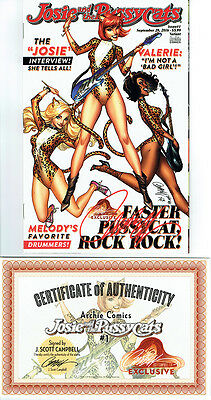 JOSIE AND THE PUSSYCATS #1 J SCOTT CAMPBELL EXCLUSIVE SIGNED w/ COA NM ARCHIE