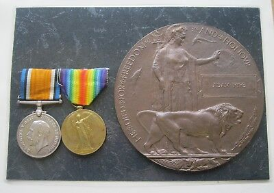 Ww1 Death Plaque & Medals - Pte. Adam  Fyfe. R. Scots With Paperwork