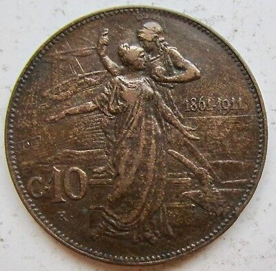 1911 Italy 50th Anniversary of Unification 10 Centesimi --1 year type