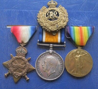 Ww1 1914-15 Medal Trio - Dvr. W. Higgins. Royal Engineers + Cap Badge.
