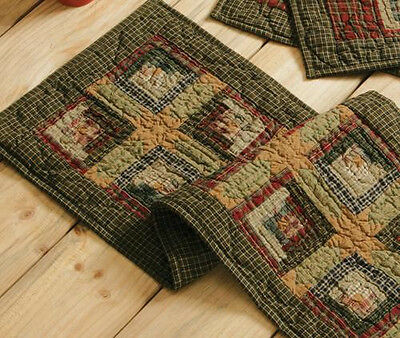 """New Primitive Country Tea Stained Green Red LOG CABIN Quilted Table Runner 48"""""""