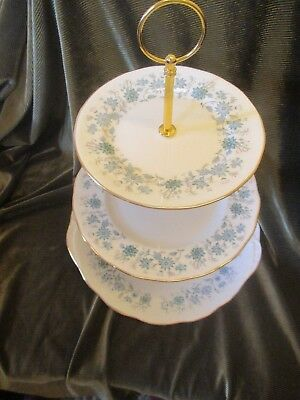 Pretty  Vintage Colclough China England Plated 3 Tier Cake Stand 'braganza'