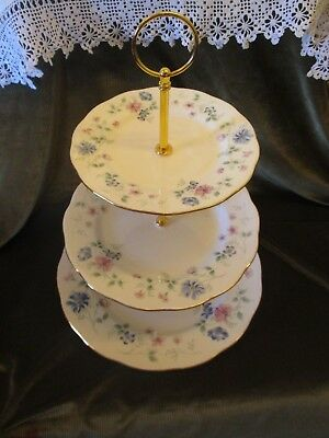Lovely Vintage Colclough China Plated 3 Tier Cake Stand 'hartley'