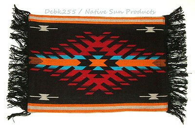 Woven Placemat Table Mat Native American / Southwestern Fringed Black Design #2D