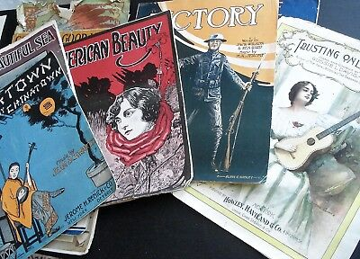 Vintage Antique Sheet Music Art Deco Covers Lot of 15 Early 1900s
