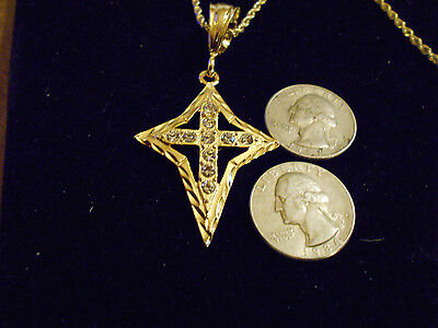 bling gold plated CHRISTIAN CATHOLIC cross crucifix PENDANT charm chain necklace