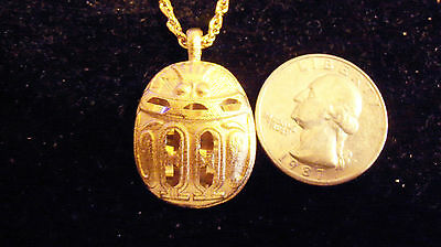 bling gold plated egyptian DEMONIC scarab FASHION Charm Pendant chain Necklace