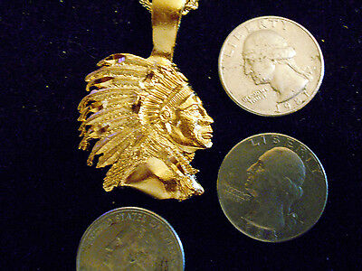 bling gold plated INDIAN native tribal chief head PENDANT charm necklace JEWELRY
