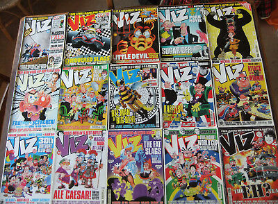 Collection of 15 Viz! comics, between issues 162 and 197, classic British humour