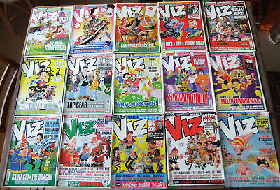 Collection of 15 Viz! comics, between issues 198 and 227, classic British humour