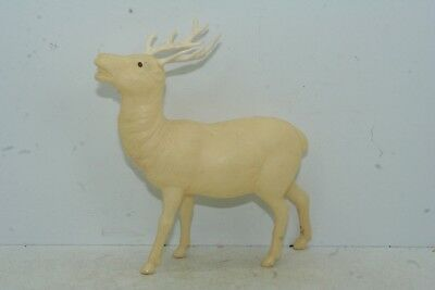 "Vintage Irwin Celluloid Christmas Deer Figure - 4 1/4"" High x 4 1/4"" Long"