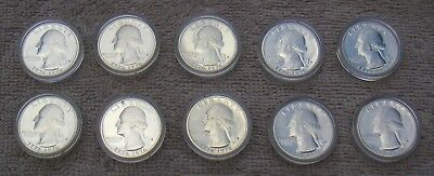 10 United States 1976-S Proof 40% Silver Washington Bicentennial Quarters Cased
