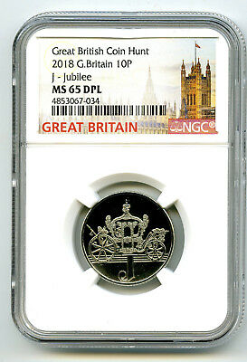 2018 10P Great Britain ' J '- Jubilee Ngc Ms65 Dpl British Coin Hunt Proof Like