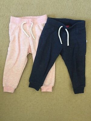 Girls 2 Pack Of Joggers - Size 9-12 Months