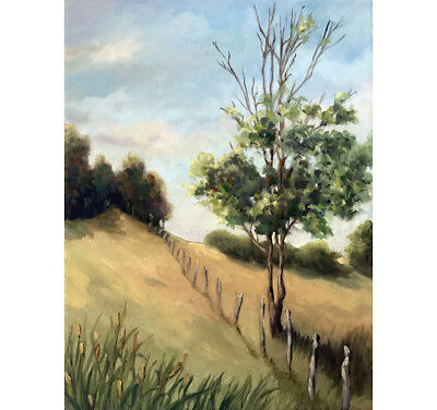 Over the Hill rural country landscape original oil painting by L.Apple