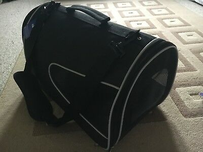 Black Fabric Foldaway Pet Carrier With Carry Handle And Shoulder Strap