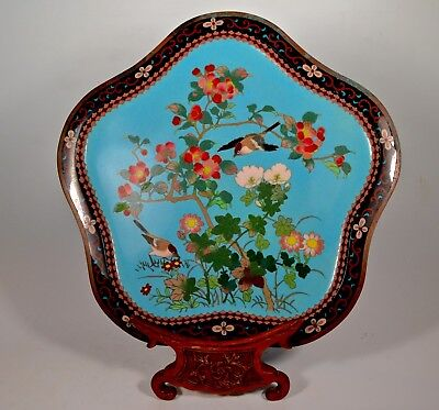 Rare Fine Silver Wire Antique Japanese Meiji Cloisonne Lobed Tray Charger