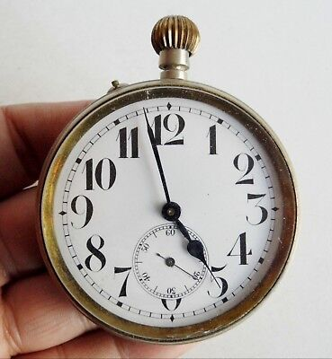 Large Size Antique Pocket Watch - Goliath - Spares Or Repairs - Argentan Case