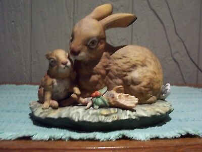 Vintage Masterpiece by HOMCO Rabbit with Baby Bisque Porcelain Figurine D9