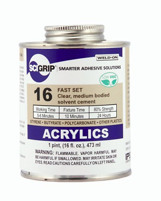 SCIGRIP Weld-On 16 Plastic Glue Cement for Acrylic Plexiglass 1 Pint Can Clear