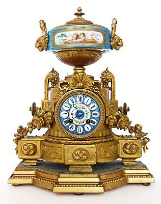 Antique French Gilt Mantel Clock & Stand, Porcelain Dial & Urn, Cherubs, Mourey