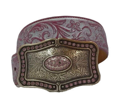 Justin New SILVER BROCADE Pink Leather Belt  Size 26  NWT C20367