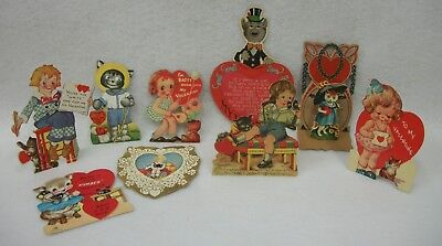 Lot of 9 Vintage and Antique Cat Valentine Cards