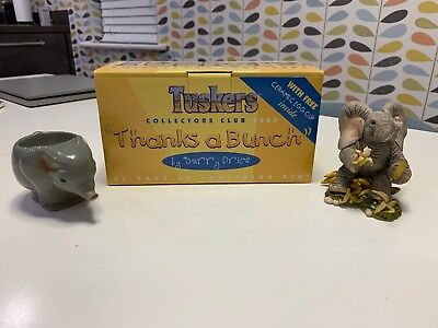 Thanks A Bunch Tuskers Elephant Ornament + Egg Cup + Box. Excellent condition.