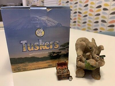 Love Is A Treasure Tuskers Elephant Ornament + Box. Excellent condition.