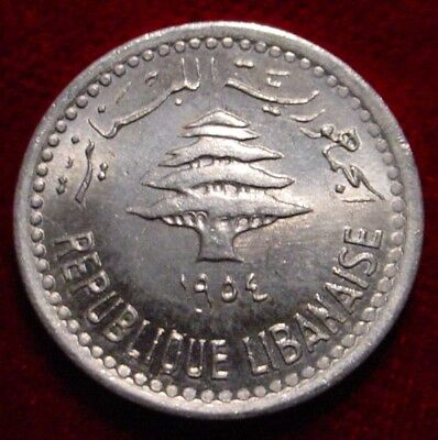 **rare**hi Grade Bu 1954 5 Piastres Lebanon*superb Detailed Coin