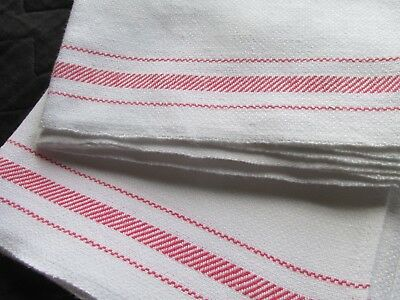 Lovely Pair of Vintage Irish Linen Red Strip Tea Towels