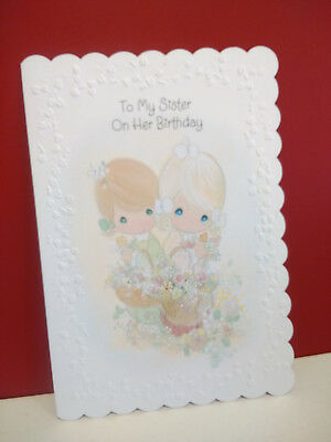 Birthday Card Sweet Girls Sisters Picking Flowers 1990's Precious Moments Used