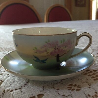 Vintage Hand Painted Nippon Porcelain Demi Cup And Saucer Blue Bird