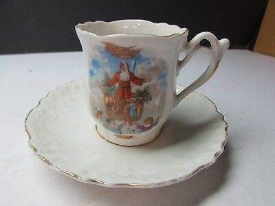 Vintage Victorian Santa Claus Childs Cup And Saucer