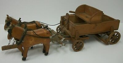 "Vintage Hand Carved Folk Art Horse Drawn Wagon Primitive Rustic 20"" Decoration"