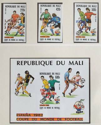 MALI 1982 UNLISTED ImPerf OVP MNH** Set + Sheet, Soccer, Football, Stamps