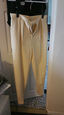 1930's STYLE CREAM HIGH WAIST ZOOT SUIT STYLE PLEATED TROUSERS 38W 34 I/L