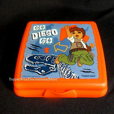 Tupperware NEW Rare Dora Go Diego Go Orange Desgin Lunch Sandwich Keeper Box