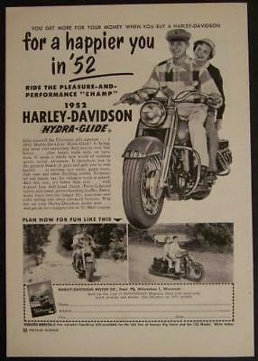 1952 Harley Davidson Hydra Glide *For a happier you in '52* vintage AD