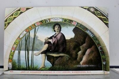 Washington DC Congressional Library Boy of Winander Painting Postcard Old View